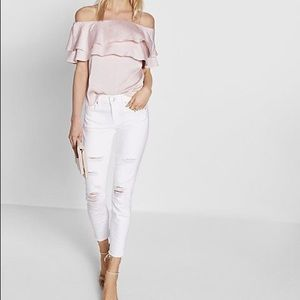 Pink Satin Ruffle Off Shoulder Blouse